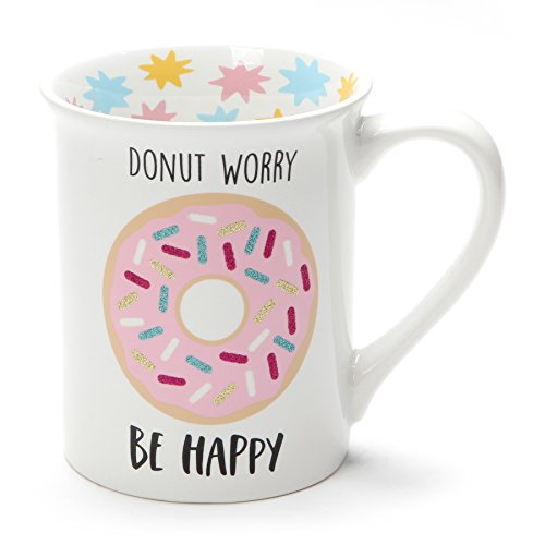 Enesco 6001222 Our Name is Mud Donut Worry Be Happy, 16 Ounce, Multicolor Stoneware Glitter Mug,