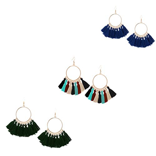 FEDULK 3 Pairs Dangle Earrings Tassel Hoop Fringe Bohemian Drop Earrings Stud Earrings Gift for Girls Women(B)
