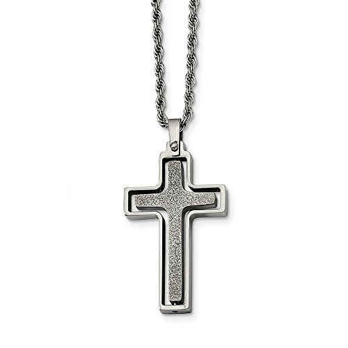 ICE CARATS Stainless Steel Cross Religious Pendant Chain Necklace Man Charm Crucifix Fashion Jewelry Gift for Dad Mens for Him]()