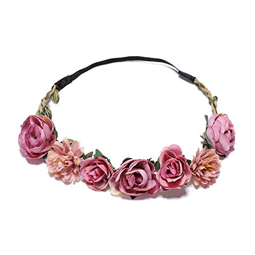 Bohemian Style Women Headband Flower Hair band Crown Wedding Wreath Bridal Headdress Forehead Head Band Hair Accessories,1,free -