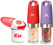 Kitchen Mama Auto Can Opener, Electric Salt Pepper Grinder Set: Smooth Edge, Food Safe of Can Opener, and 2 On