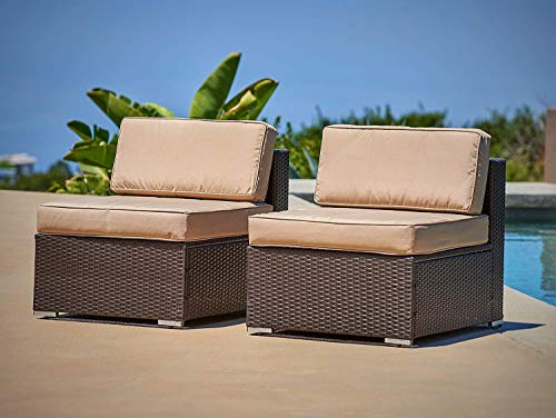 Suncrown Outdoor Furniture High Back Iron Frame Rattan Bench: Wicker Loveseat w/Cushion - Perfect for Patios, Porches, Gardens or Poolside (Brown ()