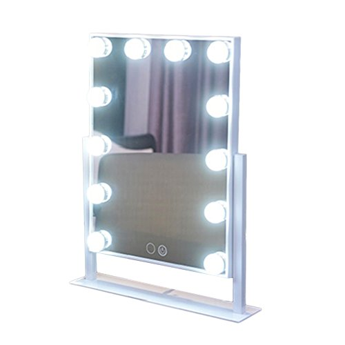 Geek-House Tabletops Lighted Makeup Mirror Hollywood Style with LED Bulb & Dimmer USB Powered Valentine's Day Gift White by GeekHouse