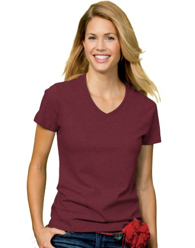Hanes Women`s Relaxed Fit ComfortSoft® V-neck T-Shirt, M-Maroon