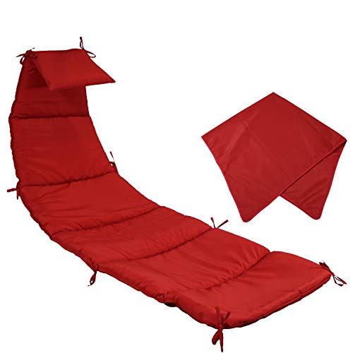 Sunnydaze Outdoor Hanging Lounge Chair Replacement Cushion and Umbrella Fabric - Red (Lounge Replacement Chair Fabric)