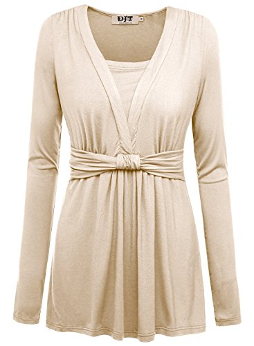 DJT Womens V neck Shirring Shoulder