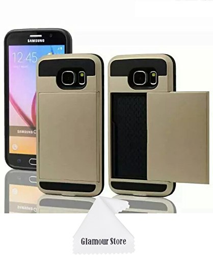 Samsung Galaxy S6 Case,New ID Credit Card Holder Hard Case Back Cover Protective For New Samsung Galaxy S6 With A Free Cleaning Cloth As a Gift,Not Fit For Samsung Galaxy S6 Edge (Golden)