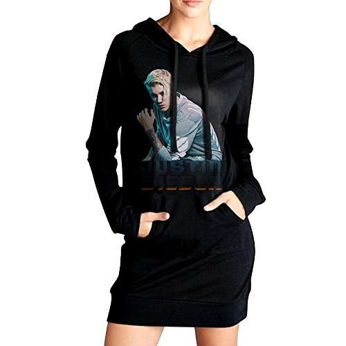 Price comparison product image Ananlin Womens JB Justin Bieber Sexy V Neck Long Sleeve Cotton Hooded Hoodie / Sweatshirt Casual Dress