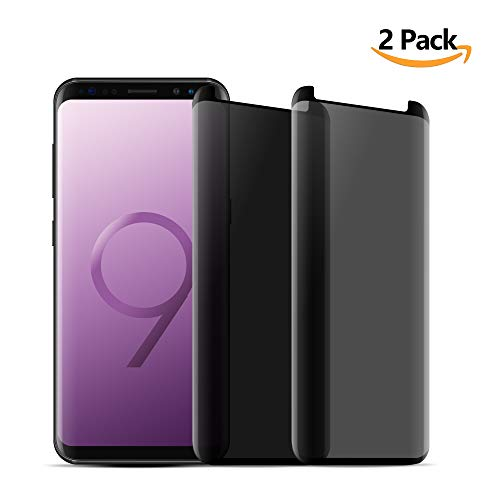 MOZEEDA [2 Packs] Samsung Galaxy S9 Screen Protector Privacy Glass, Anti Glare HD Privacy Screen Protector Replacement for Galaxy S9 5.8 Inch,Anti Spy,Anti-Scratch,Bubble Free (2 PCS/Black)
