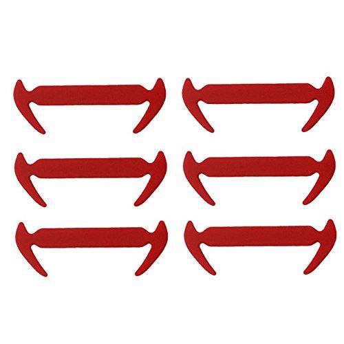 12 pcs Easy No Tie Elastic Silicone Shoe Laces (Red) - 9