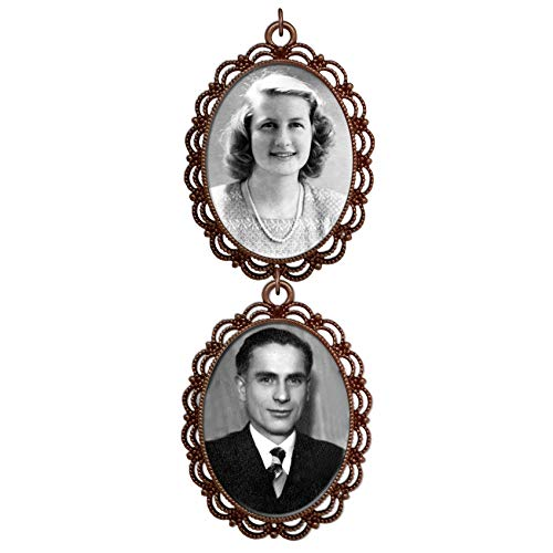 Copper Wedding Bouquet Charm Large Double Frame 2 Picture Photo Charm Cascading for Bridal Bouquet Flowers 40x30mm Oval ()