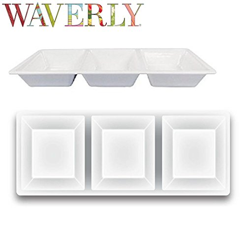 Waverly White Melamine 3 Section Chip and Dip Serving Platter Tray Large Size 14.75