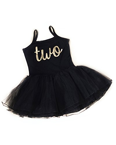 Scarlett Gene Baby Girl Second Birthday Outfit, Sparkly Gold Two Tutu Dress, Perfect for Toddlers Second Birthday Party (2T-3T, Black)]()
