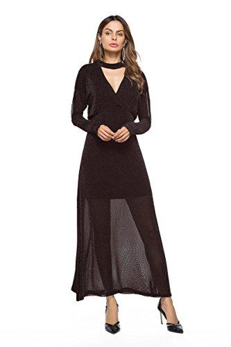 プラグ土観客ZYHOUSE Fashion Women Autumn Sexy V collar Long Sleeves Solid color Long Dress