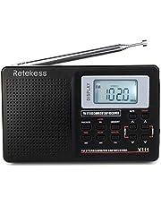 Retekess V-111 AM FM Stereo Radio Portable Shortwave Radio Compact Transistor Radios with Alarm Clock 3.5mm Earpiece Jack for Travel (Black)