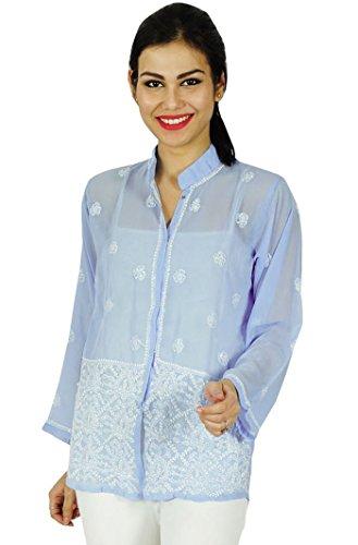 Diseñador de India étnicas Georgette Kurti regalo informal para ella Chikan bordado Kurta Azul y del blanco