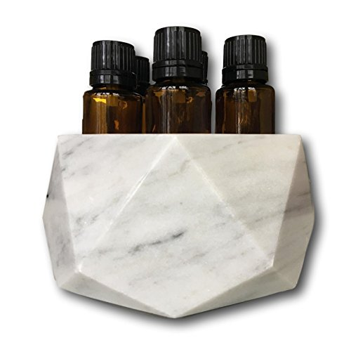 Diamond Stone Essential Oil Holder-100% Stone and Handmade-Decorative Display Case Box Holder For 7, 15ml Bottles (Grey Marble) by Shades of Stone