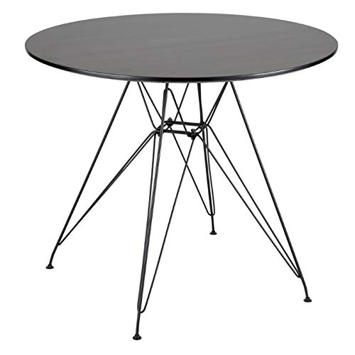 Lumisource Avery Mid-Century Modern Dining Table, Round, Walnut/Black ()