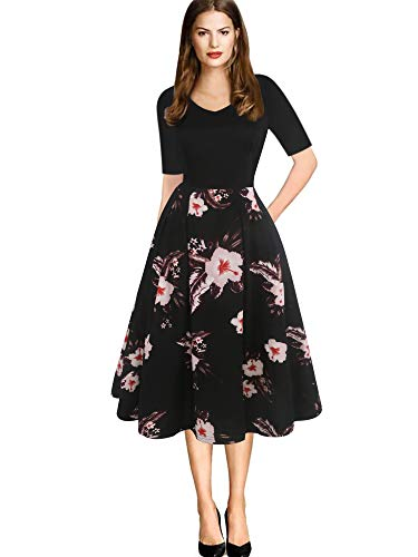 - oxiuly Women's Elegant Chic V-Neck Floral Casual Party Cocktail Work Swing Midi Tea Dress with Pockets OX295 (S, BK PinkF)