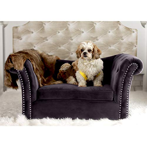 TOV Furniture The Dachshund Collection Waterproof Velvet Upholstered Handmade Sofa Pet Dog Bed, Gray