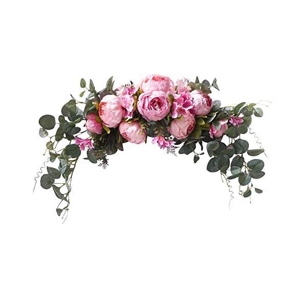 U'Artlines Floral Swag Artificial Flowers Peony Wreath Handmade Garland for Mirror Home Wedding Party Door Lintel Decoration