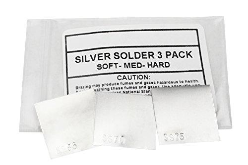 3 Piece Silver Solder Sheet - 1 DWT Each of Soft Medium Hard Jewelry Making SS65 SS70 & SS75 Soldering Sheet Set