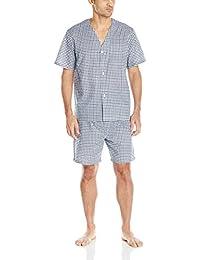 Fruit of the Loom Mens Broadcloth Short Sleeve Pajama Set Pajama Set