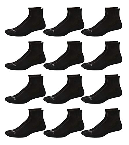 'AND1 Men\'s 12 Pack Athletic Quarter Cut Socks (Black, Shoe Size: 6-12.5)'
