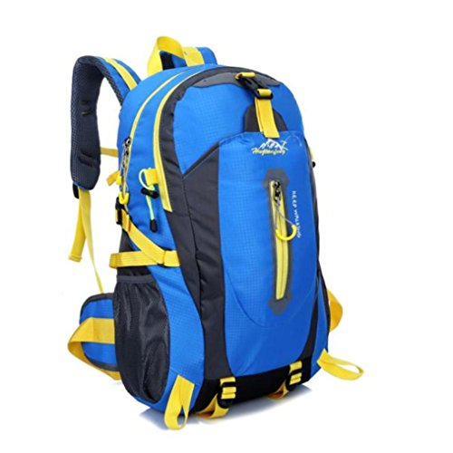 Price comparison product image Qisc Hiking Backpack, 40L Waterproof Daypack Outdoor Sport Rucksack For Travel Trekking Climbing Camping Mountaineering Skiing Fishing Cycling Camping Exploring Knapsack (Blue)