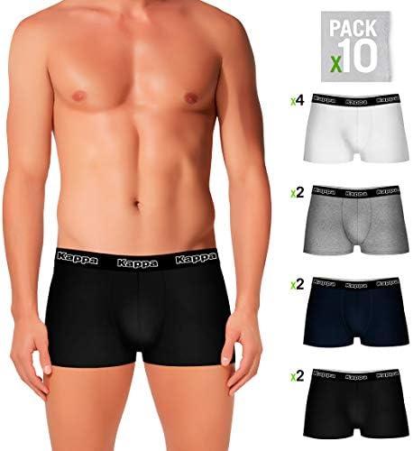 Kappa Set 10 Boxers 4Negro/2Blanco/2Azul/2Gris - 95% Algodon, 5% elastan Salvo Gris: 65% Polyester 35% algodón - Padre L: Amazon.es: Ropa y accesorios
