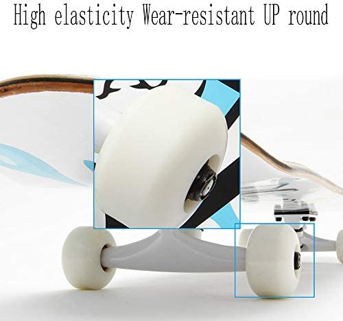 WRISCG Skateboard Planche à roulettes en Bois d'Erable Skateboards Complet Mini Cruiser Skate avec roulements à Billes ABEC High Speed, pour Les Enfants, Jeunes et Adultes