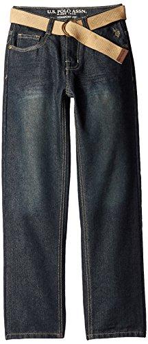 Belted Embossed Jeans (U.S. Polo Assn. Big Boys' Pocket Jeans with Belt, Berkeley Wash,)