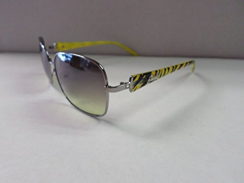 Giselle Rectangle Women's Sunglasses GSL28018 Silver/Yellow Stripes by Giselle