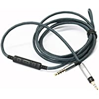 NEOMUSICIA Cable for Audio Technica ATH-M50x / ATH-M40x / ATH-M70x / KRK KNS8400 / KNS6400 headphone, Remote volume control & Mic cord fit Samsung Galaxy Sony Xiaomi Huawei Android phone