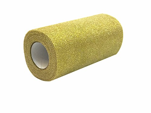 6 x 25 Yards Sparkling Glitter Tulle Ribbon Rolls - Tutu Wedding Party Skirts Gift Bow Craft (D05 Gold)