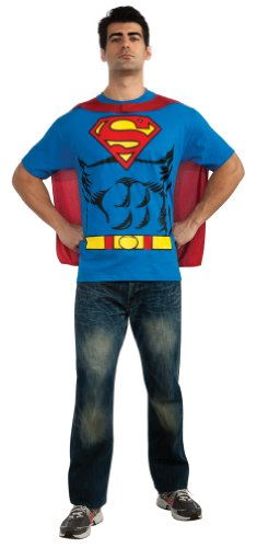 Superman All Blue Costume (DC Comics Superman Costume T-Shirt With Cape, Blue, Medium)