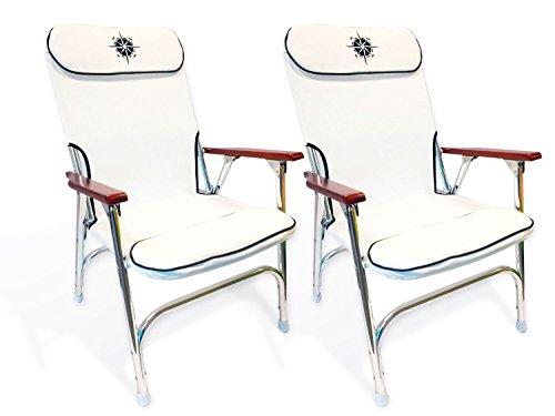 Five Oceans White Skipper Deck Chair (Set of 2) - BC 3880 (Deck Chair White)