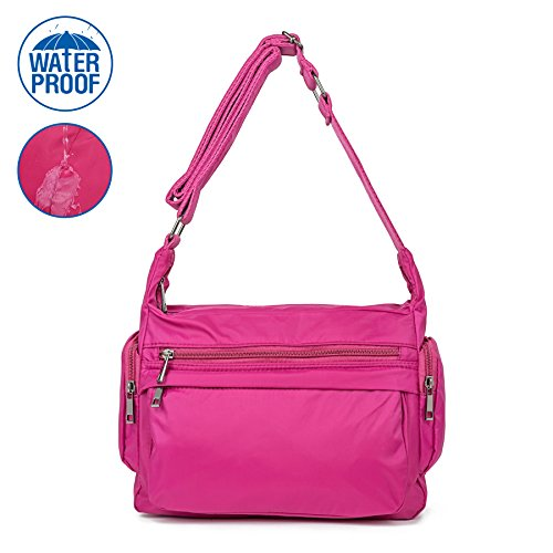 Sports Purse - ZORESS Women Waterproof Nylon Shoulder Bag Corssbody Purse Travel Handbags (Rose)