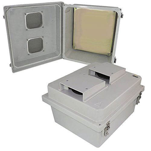 Altelix 14x12x8 Vented FRP Fiberglass Weatherproof NEMA Enclosure with Aluminum Equipment Mounting Plate, Hinged Lid & Stainless Steel Latches