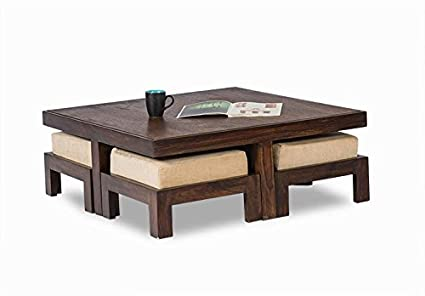 Js Home Décor Sheesham Wooden Coffee Table For Living Room | With 4 Stools  | Walnut