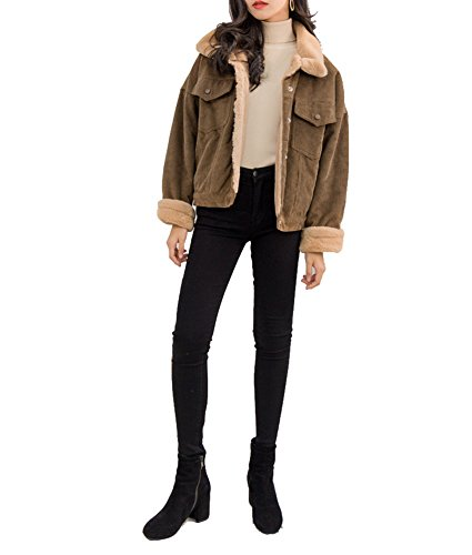 Jacket Women Corduroy - Gihuo Women's Vintage Corduroy Sherpa Fleece Lined Jacket Thickened Warm Quilted Jacket (Dark Khaki, Large)