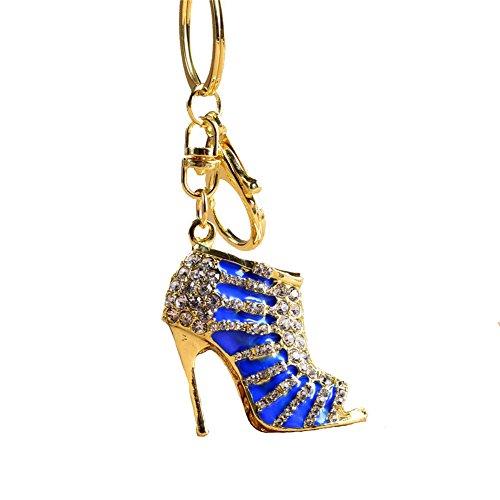 Kissweet Crystal Shoe High Heel Keychain Rhinestone Purse Charm Pendant Bag Car Key Ring (Crystal Footwear)