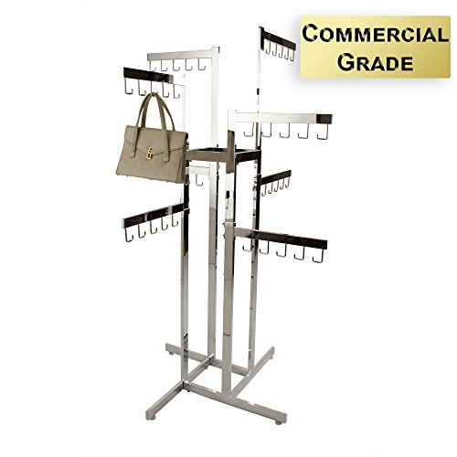 Handbag Rack - Econoco - Heavy Duty Chrome 4 Way Rack, 8 Adjustable Height Arms, Square Tubing, Perfect for Handbags or Small Garments Store Display by Econoco