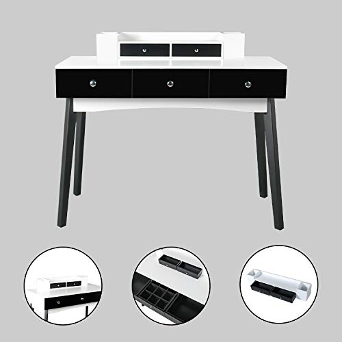 2-Tier Home Office Writing Desk Student Spacious Study Table with 5 Drawers Modern Computer Laptop Workstation with Detachable Hutch (Black and White) (With Drawers Writing Tables)