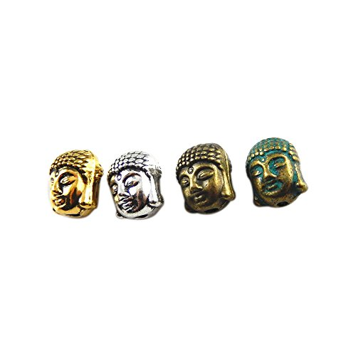 Julie Wang 60pcs Mixed Antiqued Bronze Silver Buddha Head Beads Charms Pendants for Jewelry (Buddha Pendant Jewelry)