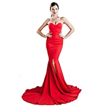 Missord Strapless Asymmetric Slit Front wedding evening party Maxi Dress