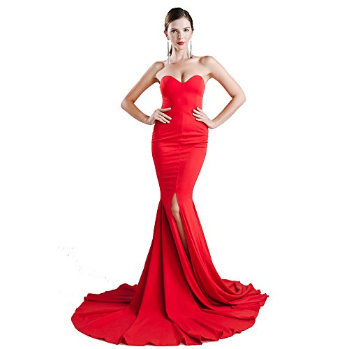 Miss ord Strapless Asymmetric Slit Front Wedding Evening Party Maxi Dress Red -