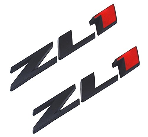 Camaro Rear Emblem - Aimoll Replacement for ZL1 Camaro Emblem 3D Badge Letter Rear Side (2pcs Black red)