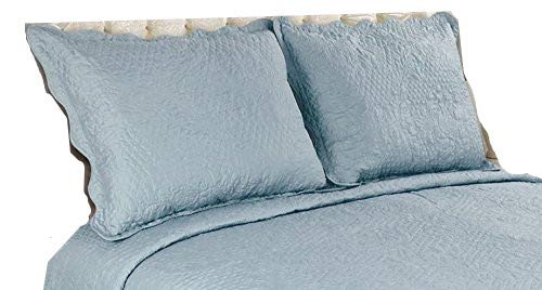 ALL FOR YOU 2-Piece Embroidered Pillow Shams-King Size (King, Aqua)