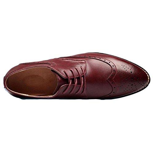 snfgoij Hommes Cuir Chaussures Marron Cravate Formel Doux Commerce Été Bullock Carving Astuces Rehaussement Red 4h1F6I